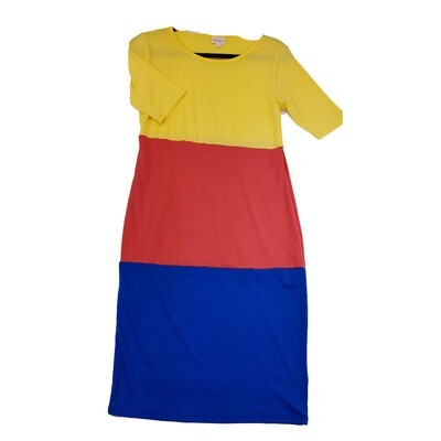 JULIA Small S Solid Blue Red and Yellow Form Fitting Dress fits sizes 4-6