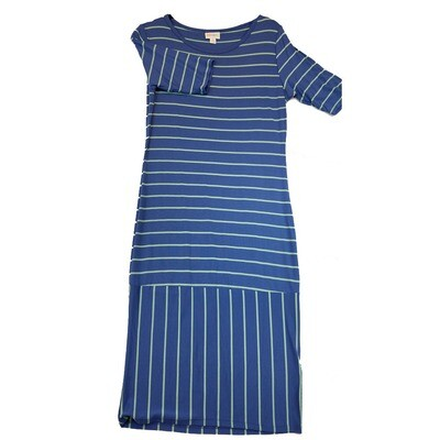 JULIA Small S Blue and Light Blue Stripe Form Fitting Dress fits sizes 4-6