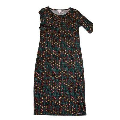 JULIA Small S Dark Green Yellow and Pink Chevrons Geometric Polka Dot Form Fitting Dress fits sizes 4-6