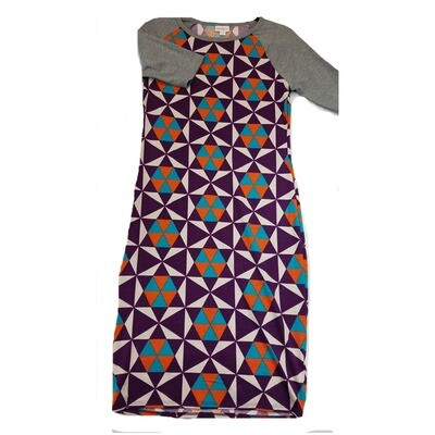 JULIA Small S Purple Blue and White with Grey Sleeves Trippy Geometric Form Fitting Dress fits sizes 4-6