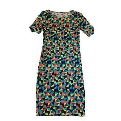 JULIA X-Small XS Black Blue Yellow Geometric Form Fitting Dress fits sizes 2-4