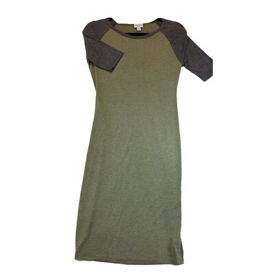 JULIA X-Small XS Solid Green with Dark Grey Sleeves Form Fitting Dress fits sizes 2-4