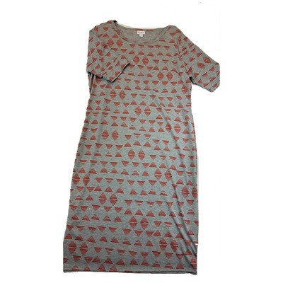 JULIA XX-Large 2XL Solid Grey with Red Triangles Form Fitting Dress fits sizes 20-22