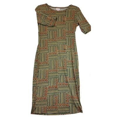 JULIA Small S Green, Orange and Yellow Quilt Geometric Stripe Pattern Form Fitting Dress fits sizes 4-6