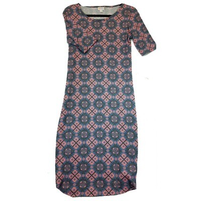 JULIA Small S Pink and Blue Trippy Geometric Polka Dot Form Fitting Dress fits sizes 4-6