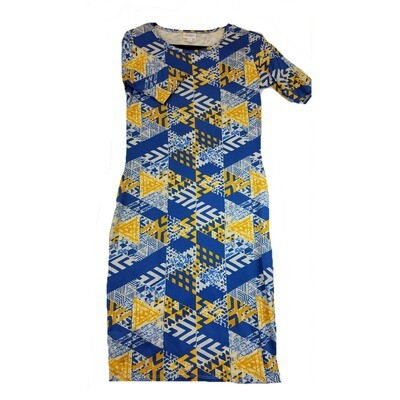 JULIA Small S Blue Yellow and White Patchwork Geometric Form Fitting Dress fits sizes 4-6