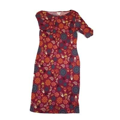 JULIA Small S Maroon Blue Orange White Mandala Floral Geometric Form Fitting Dress fits sizes 4-6