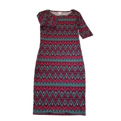 JULIA Small S Fuchsia Maroon Pink and Teal Zig Zag Stripe Form Fitting Dress fits sizes 4-6