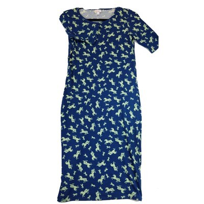 JULIA X-Small XS Unicorns Unicorns Unicorns Blue and Green Form Fitting Dress fits sizes 2-4