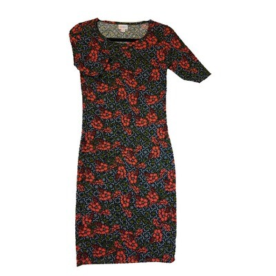 JULIA X-Small XS Pink Black Green and Grey Floral Geometric Form Fitting Dress fits sizes 2-4
