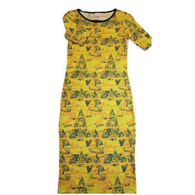 JULIA X-Small XS Yellow Black and Pink Geometric Form Fitting Dress fits sizes 2-4