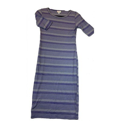 JULIA X-Small XS Blue and Grey Stripe Form Fitting Dress fits sizes 2-4
