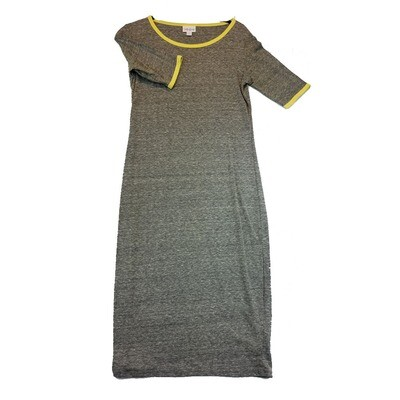 JULIA X-Small XS Solid Dark Grey with Yellow Trim Form Fitting Dress fits sizes 2-4