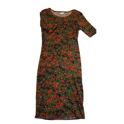JULIA X-Small XS Black, Green and Pink Pansies Floral Form Fitting Dress fits sizes 2-4