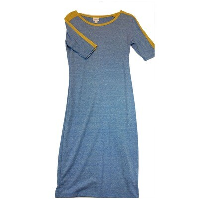 JULIA X-Small XS Solid Blue with Dark Yellow Shoulder Stripes Form Fitting Dress fits sizes 2-4