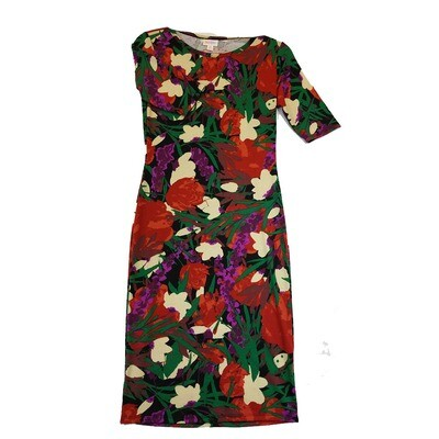 JULIA X-Small XS Cream Red Blue and Black Floral Form Fitting Dress fits sizes 2-4