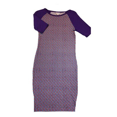 JULIA X-Small XS Pink and Blue with Purple Sleeves Micro Polka Dot Geometric Form Fitting Dress fits sizes 2-4