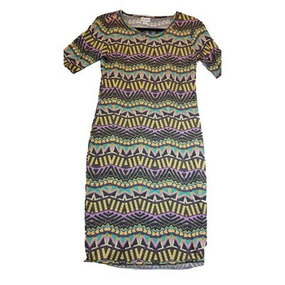 JULIA X-Small XS Grey Yellow Purple and Teal Wavy Stripe Form Fitting Dress fits sizes 2-4