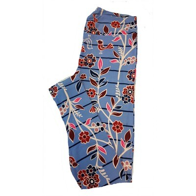 LuLaRoe Tall Curvy TC Floral Stripe Leggings fits sizes 12-18