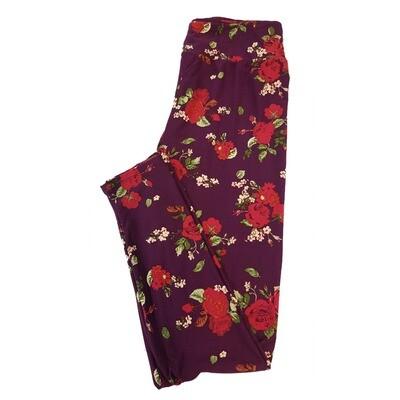 LuLaRoe Tall Curvy TC Floral Roses Red on Black Leggings fits sizes 12-18