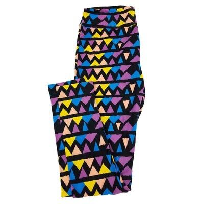 LuLaRoe Tall Curvy TC Trippy Geometric Zig Zag Stripe Leggings fits sizes 12-18