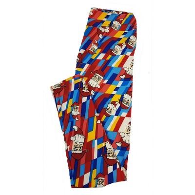 LuLaRoe Tall Curvy TC Christmas Santa Rainbow Stripe Blue Red Green Yellow Leggings fits sizes 12-18
