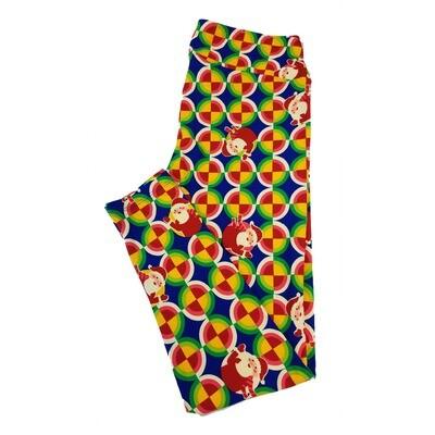 LuLaRoe Tall Curvy TC Christmas Santa Polka Dot Stripe Blue Red Green Yellow Leggings fits sizes 12-18