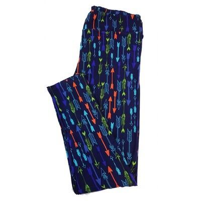 LuLaRoe Tall Curvy TC Arrows Stripes Blue Purple Green Teal Leggings fits sizes 12-18