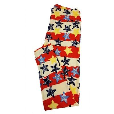 LuLaRoe Tall Curvy TC Americana Stars and Stripes Flag Red Blue White Leggings fits sizes 12-18