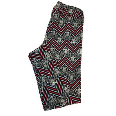 LuLaRoe Tall Curvy TC Americana Bald Eagle Zig Zag Stripe Black Red Grey White Leggings fits sizes 12-18