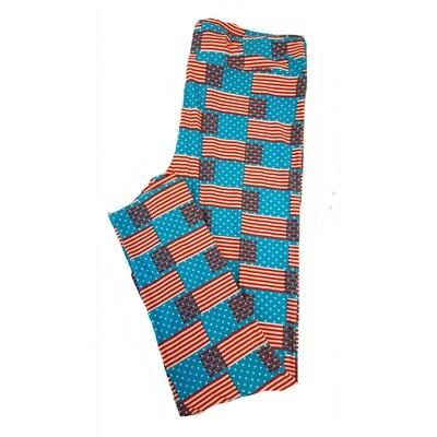 LuLaRoe Tall Curvy TC Americana Stars and Stripes Flag Polka Dot Blue Red White Leggings fits sizes 12-18