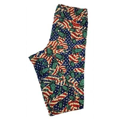 LuLaRoe Tall Curvy TC Americana Statue of Liberty Stars and Stripes Flag Polka Dot Blue Red White Leggings fits sizes 12-18
