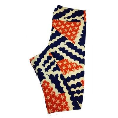 LuLaRoe Tall Curvy TC Americana Stars and Stripes Flag Polka Dot Red White Blue Leggings fits sizes 12-18