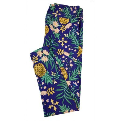 LuLaRoe Tall Curvy TC Pinneaplle Floral Leggings fits sizes 12-18