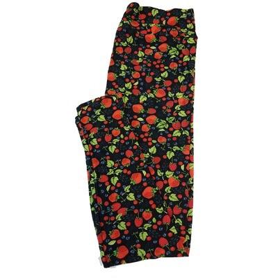 LuLaRoe Tall Curvy TC Strawberries Black Red Green Leggings fits sizes 12-18