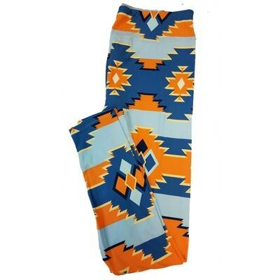 LuLaRoe Tall Curvy TC Aztek Geometric Stripe Leggings fits sizes 12-18
