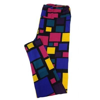 LuLaRoe Tall Curvy TC Teacher School Shapes Square Rectangle Stripe Black Blue Green Leggings fits sizes 12-18