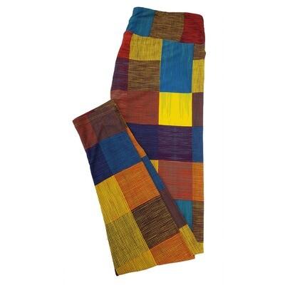 LuLaRoe Tall Curvy TC Teacher School Shapes Square Rectangle Stripe Yellow Blue Green Leggings fits sizes 12-18