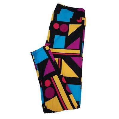 LuLaRoe Tall Curvy TC Teacher School Shapes Circle Square Rectangle Stripe Black Blue Green Leggings fits sizes 12-18
