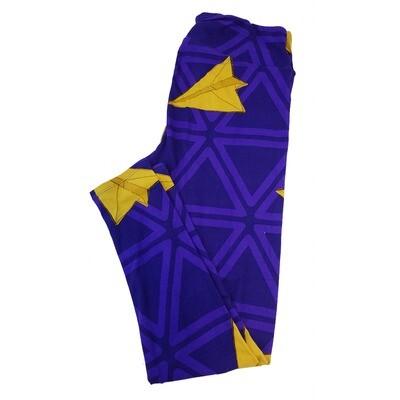 LuLaRoe Tall Curvy TC Paper Airplane Blue Gold Geometric Leggings fits sizes 12-18