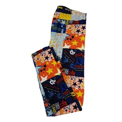 LuLaRoe Tall Curvy TC Americana Stars and Stripes 76 Old Glory Patchwork Flag Leggings fits sizes 12-18