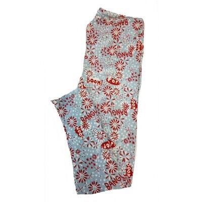 LuLaRoe Tall Curvy TC Americana Fireworks Bang! Boom! Pop! Pink Red White Leggings fits sizes 12-18