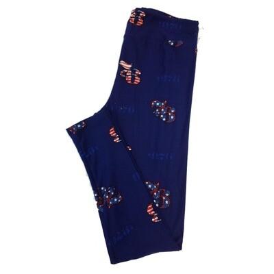 LuLaRoe Tall Curvy TC Americana '76 1976 Stars and Stripes Flag  Blue Red White Leggings fits sizes 12-18