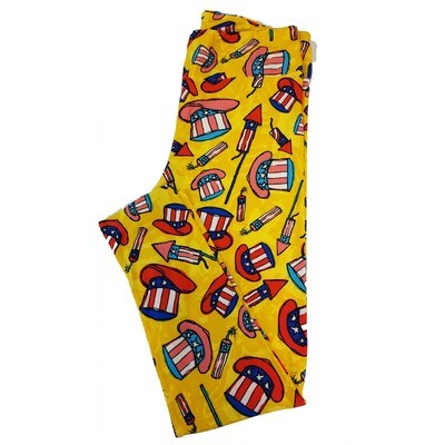 LuLaRoe Tall Curvy TC Americana Uncle Sam Top Hat Fireworks Yellow Blue Red White Leggings fits sizes 12-18