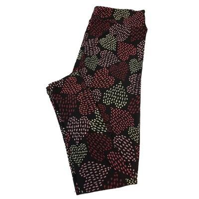 LuLaRoe Tall Curvy TC Valentines Love Polka Dot Hearts on Black Leggings fits sizes 12-18