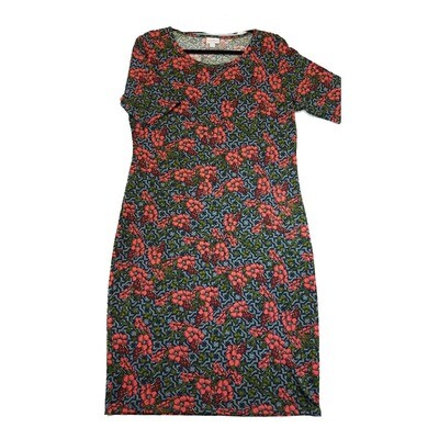 JULIA XX-Large 2XL Pink Black Green and Grey Floral Geometric Form Fitting Dress fits sizes 20-22