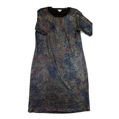 JULIA XX-Large 2XL Black and Blue Shimmery Elegant Collection Form Fitting Dress fits sizes 20-22