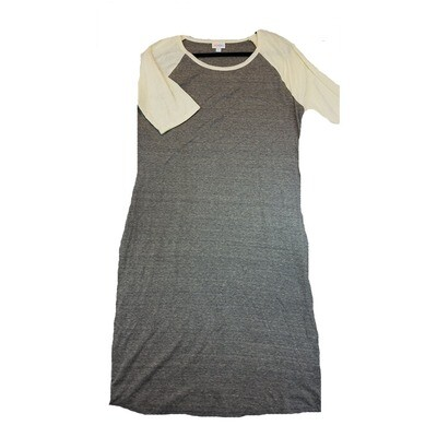 JULIA XX-Large 2XL Solid Grey with Off White Sleeves Form Fitting Dress fits sizes 20-22