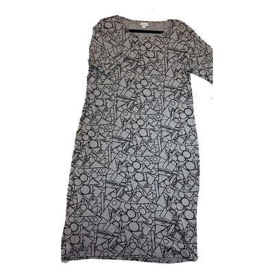 JULIA XX-Large 2XL Grey and Black Teachers Triangle Square Circle Rhombus Form Fitting Dress fits sizes 20-22