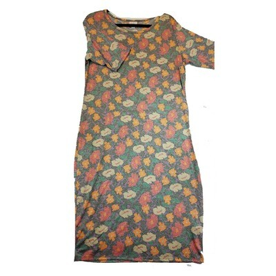 JULIA XX-Large 2XL Grey, Pink and Orange Floral Form Fitting Dress fits sizes 20-22